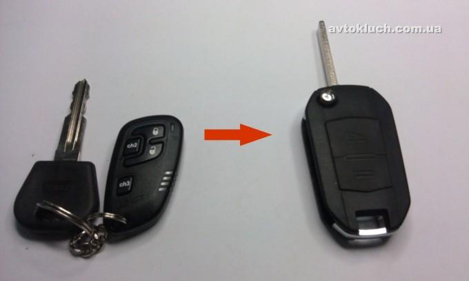 Совмещение ключа и пульта сигнализации в выкидной ключ 14.